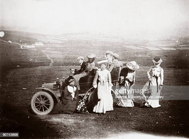 Photograph taken from an album of images collected by English motorist motor car manufacturer and aviator Charles Stewart Rolls showing welldressed...