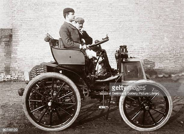 Photograph taken from an album of images collected by English motorist motor car manufacturer and aviator Charles Stewart Rolls showing him at the...
