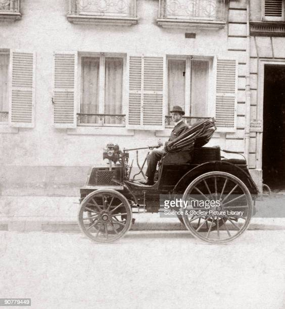 Photograph taken from an album of prints collected by English motorist motor car manufacturer and aviator Charles Stewart Rolls showing Rolls in a...