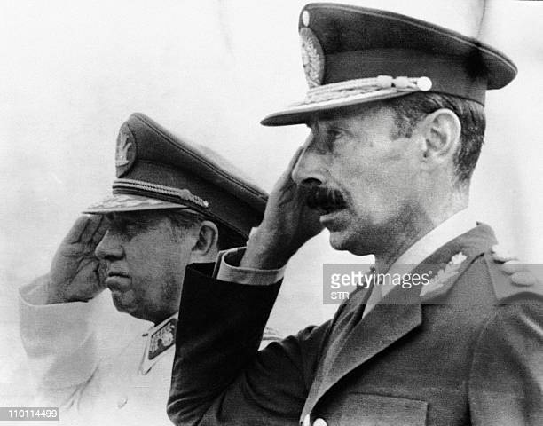 Photograph taken in Chile in 1978 of Chilean dictator general Augusto Pinochet and his Argentine counterpart general Jorge Videla The arrogance of...