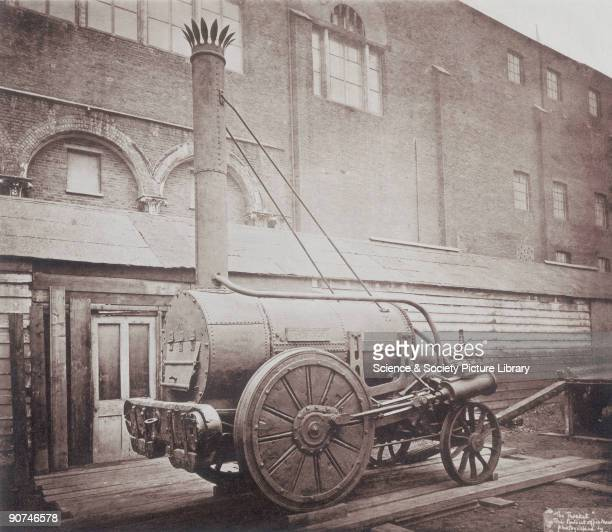 Photograph taken in March 1876 by Colonel Stuart Wortley outside the Patent Office Museum in South Kensington London the precursor of the present...
