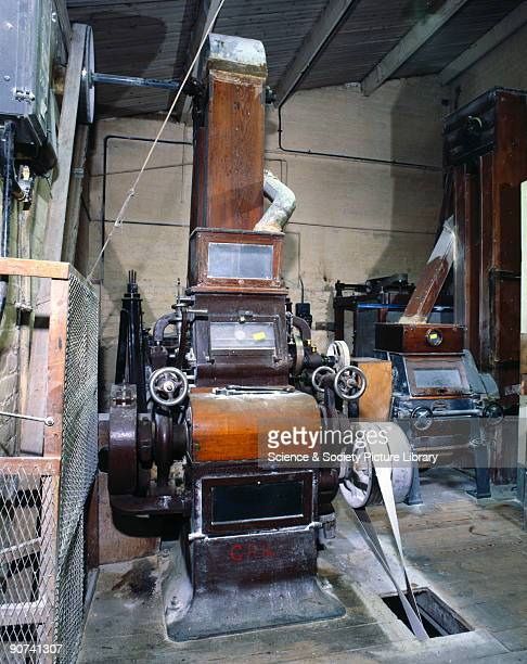 Photograph taken in the 1980s of machinery used to produce casein plastic at BP Chemicals Stroud Gloucestershire Casein is a semisynthetic plastic...