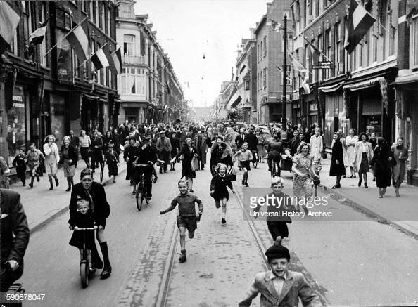 Photograph taken on Liberation Day in Holland Liberation Day marks the end of the occupation by Nazi Germany during World War II Dated 1945