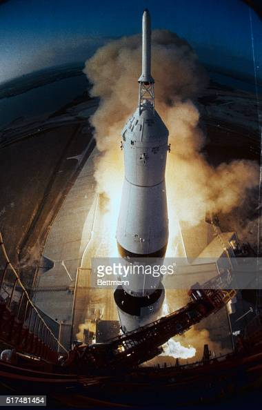 Photographed from the 360foot level of the umbilical tower the Apollo 6 the second flight of the National Aeronautics and Space Administration's...
