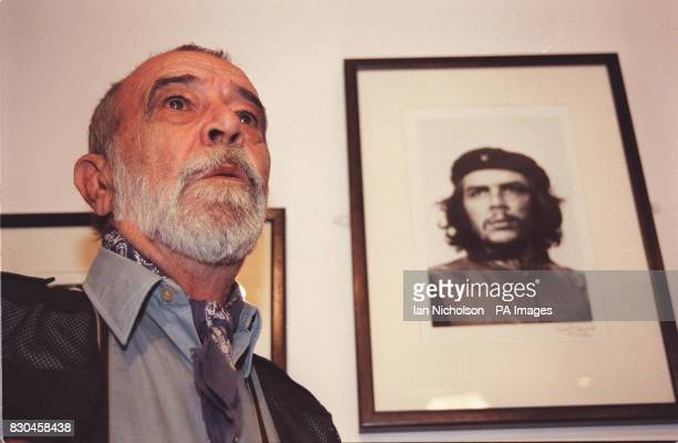 Photographer Alberto Diaz Gutierrez also known as Korda stands beside his iconic portrait of Cuban revolutionary Che Guevara at the Royal National...