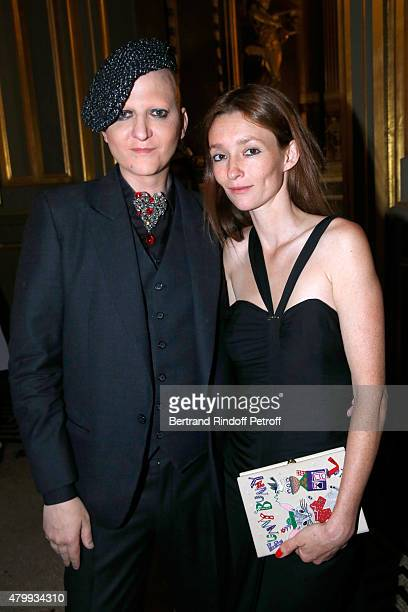 Photographer Ali Mahdavi and Model Audrey Marnay attend the Presentation of the Alexis Mabille Haute Couture Fall/Winter 2015/2016 collection as part...