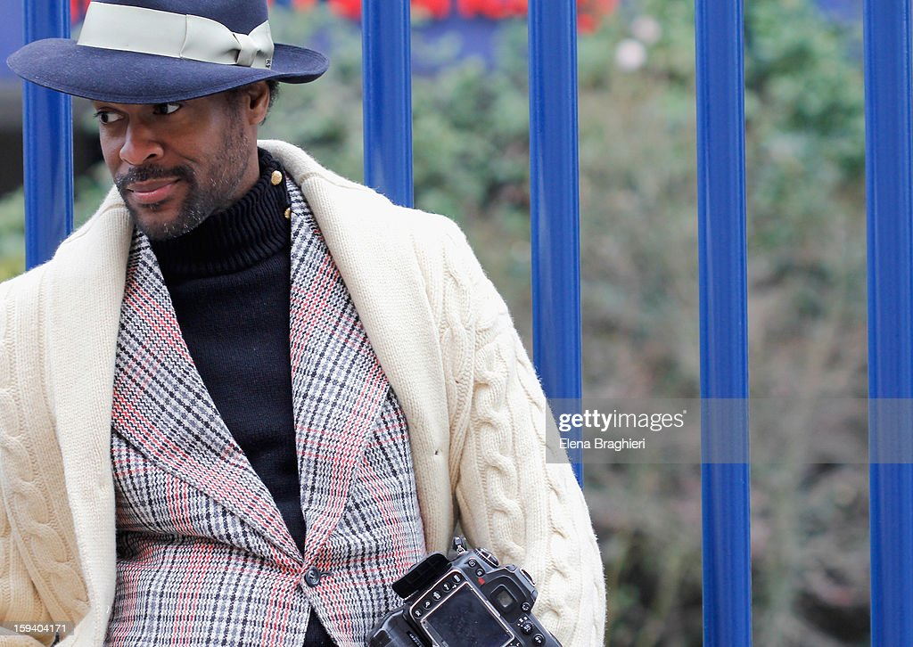 Photographer and blogger Karl-Edwin Guerre during Milan Fashion Week Menswear Autumn/Winter 2013 on January 12, 2013 in Milan, Italy.