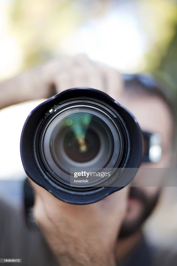 photographer and lens : Stock Photo