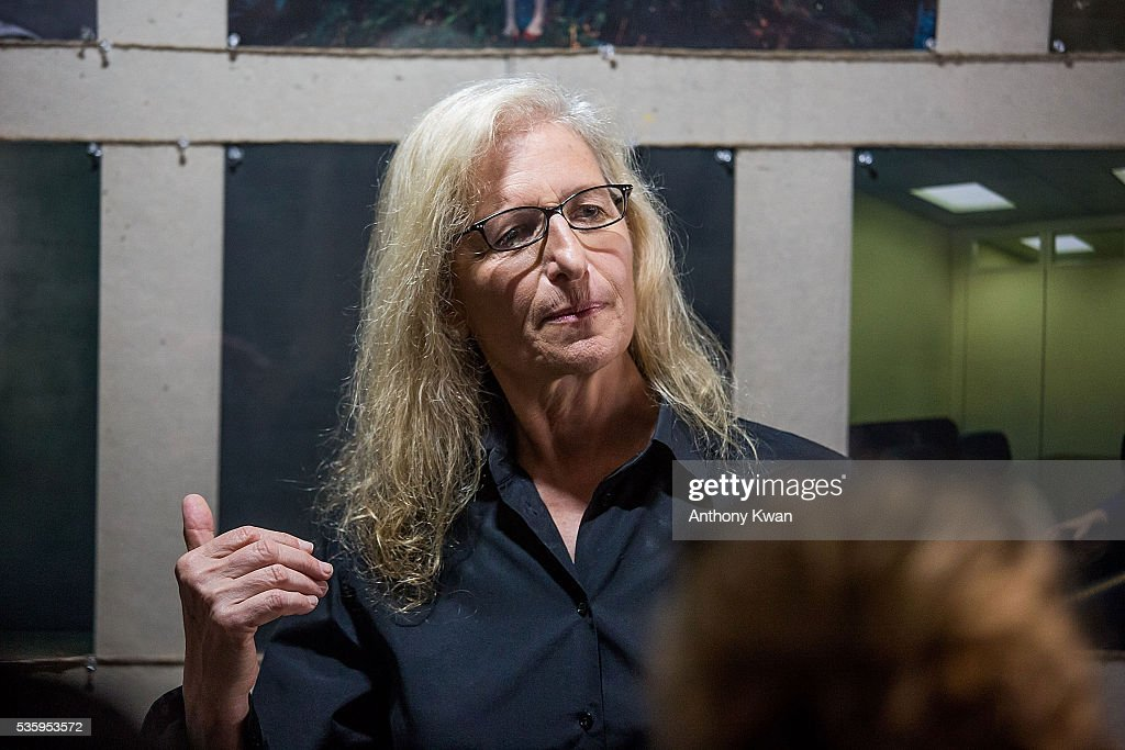 Photographer Annie Lebovitz speaks at her UBS commissioned exhibition, 'WOMEN: New Portraits', to be held at Cheung Hing Industrial Building, Kennedy Town in Hong Kong 3 - 26 June 2016, on May 31, 2016 in Hong Kong.