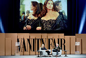 Photographer Annie Leibovitz and Vanity Fair EditorinChief Graydon Carter speak onstage during 'A Picture Is Worth …' at the Vanity Fair New...