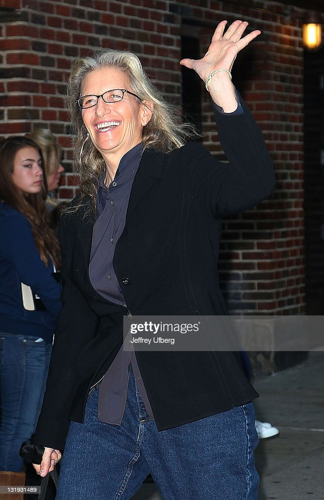 Photographer Annie Leibovitz arrives to visit 'Late Show With David Letterman' at the Ed Sullivan Theater on November 8 2011 in New York City