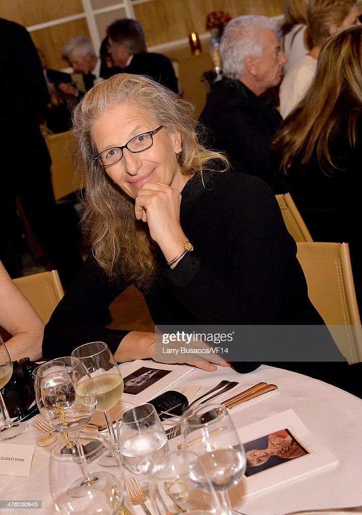 Photographer Annie Leibovitz attends the 2014 Vanity Fair Oscar Party Viewing Dinner Hosted By Graydon Carter on March 2 2014 in West Hollywood...