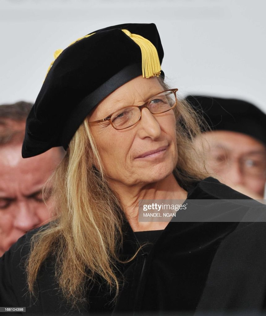 Photographer Annie Leibovitz is seen on stage before receiving an honorary degree during the commencement ceremony at Ohio State University on May 5, 2013 in Columbus, Ohio. AFP PHOTO/Mandel NGAN