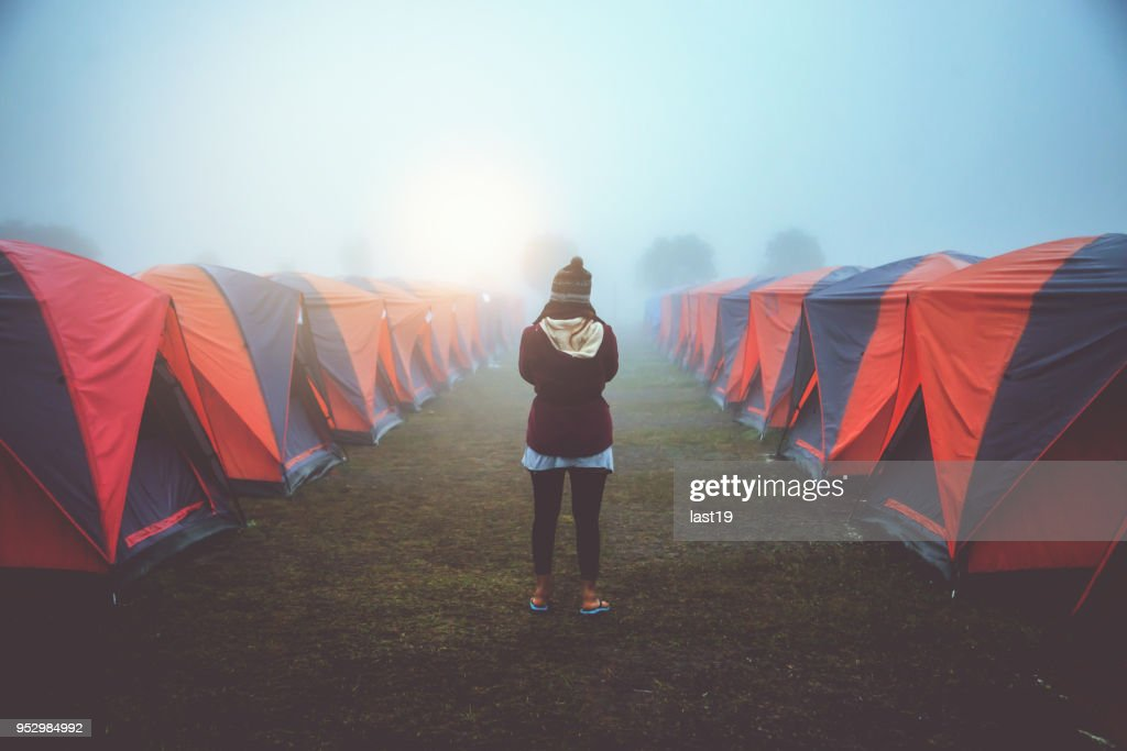 Photographer Asian woman travel nature. Travel relax. photograph Tent c&ing. Thailand  Stock & Photographer Asian Woman Travel Nature Travel Relax Photograph Tent ...