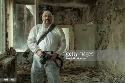 Photographer at work in Chernobyl