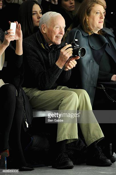 Photographer Bill Cunningham and Glenda Bailey attend the Rodarte fashion show during MercedesBenz Fashion Week Fall 2014 at Center 548 on February...