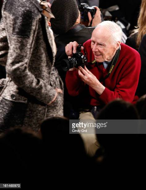 Photographer Bill Cunningham attends the Carolina Herrera Fall 2013 fashion show during MercedesBenz Fashion Week at The Theatre at Lincoln Center on...