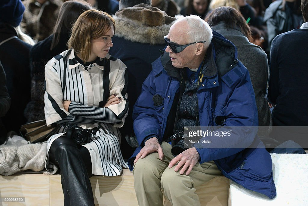 Photographer, Bill Cunningham, (right) attends the Lacoste Fall 2016 fashion show during New York Fashion Week at Spring Studios on February 13, 2016 in New York City.