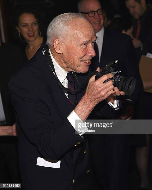Photographer Bill Cunningham in action during the Jewish Museum's Purim Ball at the Park Avenue Armory on February 24 2016 in New York City