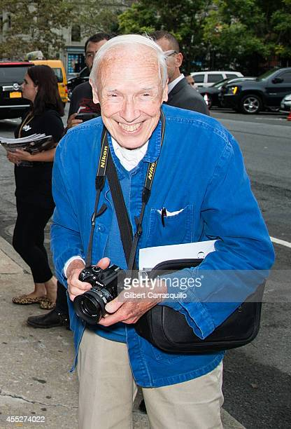 Photographer Bill Cunningham is seen at the Calvin Klein Spring Summer 2015 fashion show during New York Fashion Week at Spring Studios on September...