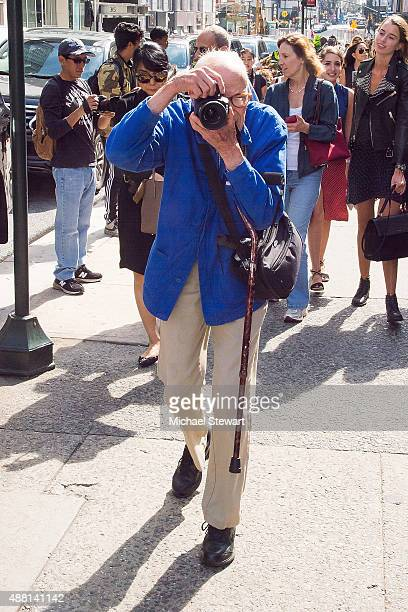 Photographer Bill Cunningham is seen in the Garment District on September 13 2015 in New York City