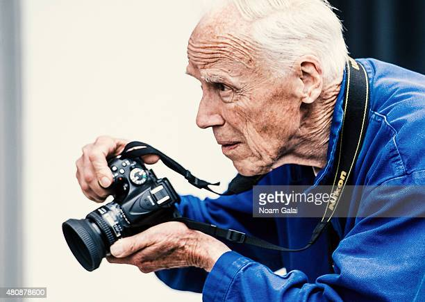 Photographer Bill Cunningham is seen outside Skylight Clarkson Sq during New York Fashion Week Men's S/S 2016 on July 15 2015 in New York City