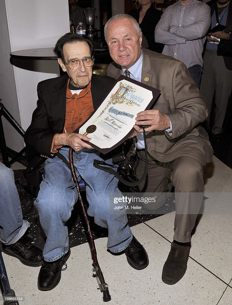 Photographer Bill Eppridge is presented a proclamation from Los Angeles City Councilman from the 4th District <a gi-track='captionPersonalityLinkClicked' href=/galleries/search?phrase=Tom+LaBonge&family=editorial&specificpeople=220711 ng-click='$event.stopPropagation()'>Tom LaBonge</a> at the Opening Reception For Photo