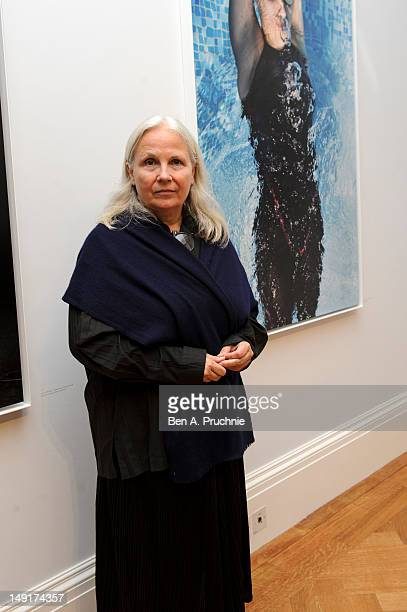 Photographer Brigitte Lacombe attends the opening of Hey'Ya Arab Women In Sport by Brigitte and Marian Lacombe at Sotheby's auction house on July 24...
