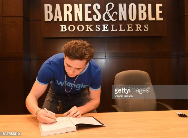 Photographer Brooklyn Beckham is spotted in Wrangler at a book signing for his new book 'What I See' at The Grove on August 2 2017 in Los Angeles...
