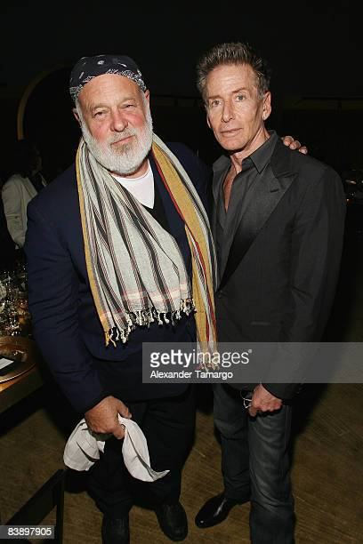 Photographer Bruce Weber and designer Calvin Klein attend a private dinner in honor of Anri Sala at the Cartier Dome Miami Beach Botanical Garden on...