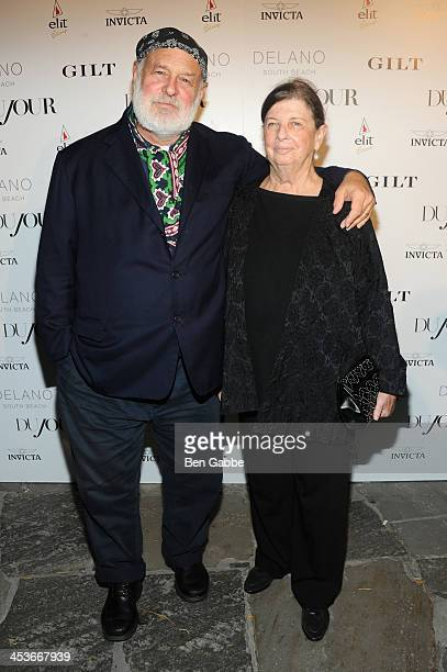 Photographer Bruce Weber and Nan Bush attend DuJour Magazine's event to honor artist Marc Quinn at Delano South Beach Club on December 4 2013 in...