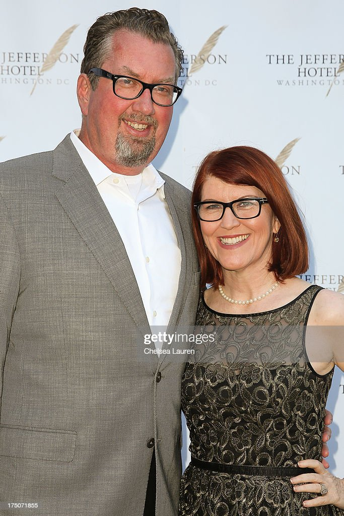 Photographer Chris Haston (L) and actress <a gi-track='captionPersonalityLinkClicked' href=/galleries/search?phrase=Kate+Flannery&family=editorial&specificpeople=580714 ng-click='$event.stopPropagation()'>Kate Flannery</a> attend The Jefferson Hotel D.C. vintage wine tasting summer soiree at Hotel Bel-Air on July 30, 2013 in Los Angeles, California.