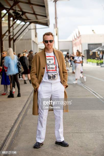 Photographer Dan Roberts wearing an Acme jacket during MercedesBenz Fashion Week Resort 18 Collections at Carriageworks on May 15 2017 in Sydney...