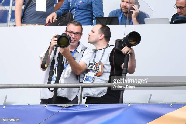 Photographer Dave Winter and Xavier Laine during the International friendly match between France and England at Stade de France on June 13 2017 in...