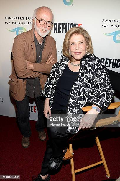 Photographer David Hume Kennerly and Chairman of the Board of The Annenberg Foundation Wallis Annenberg attend the opening of REFUGEE Exhibit at...