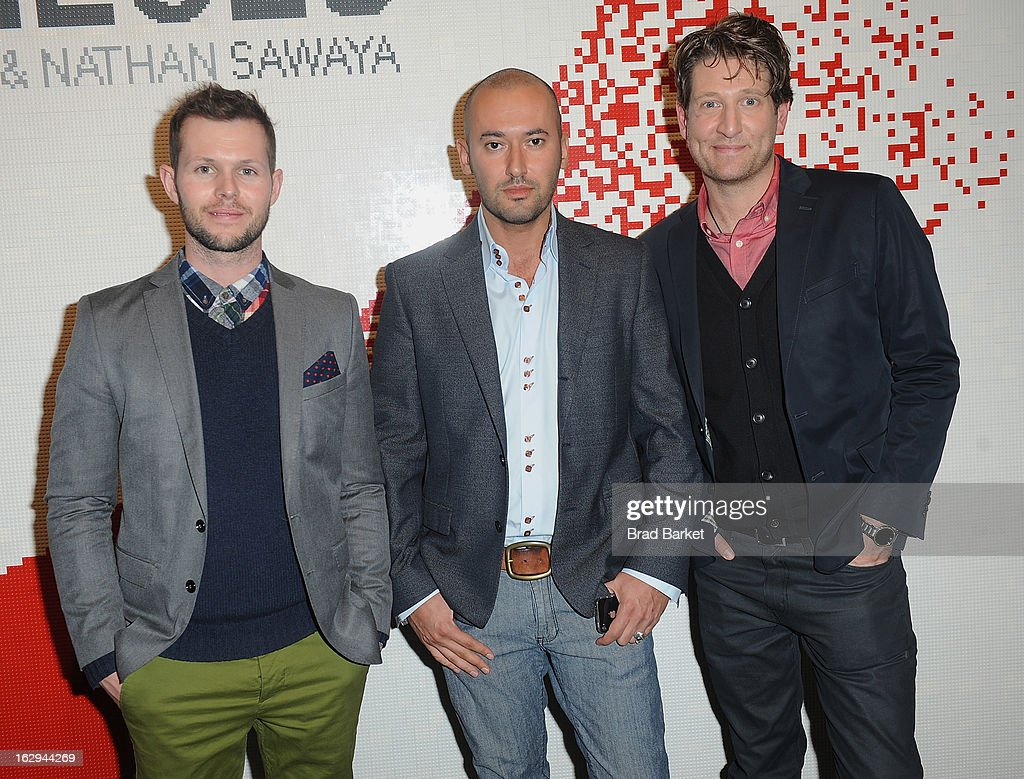 Photographer Dean West, Dmitry Prut, and Nathan Sawaya attend the In Pieces Exhibition Opening at Openhouse Gallery on March 1, 2013 in New York City.