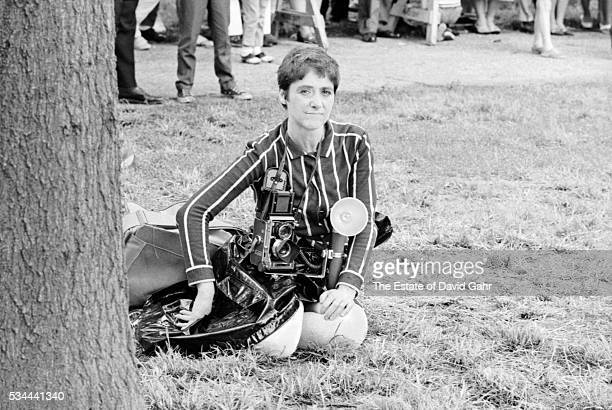 Photographer Diane Arbus poses for a portrait on July 1 1967 in Prospect Park Brooklyn New York