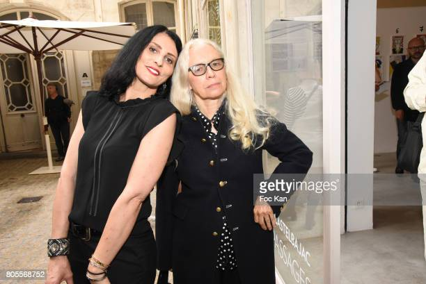 Photographer Dominique Issermann and model Sylvie Ortega Munos attend '40 Passages' Jean Charles de Castelbajc Exhibition Preview at Galerie...