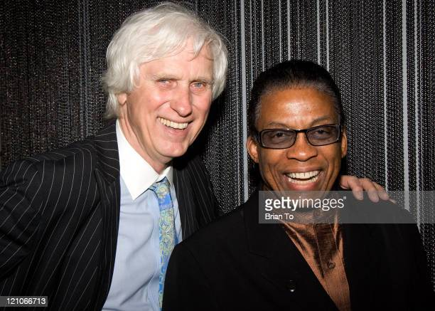 Photographer Douglas Kirkland and jazz musician Herbie Hancock pose at The Annenberg Space For Photography's 'L8S ANG3LES' Exhibit Opening on March...