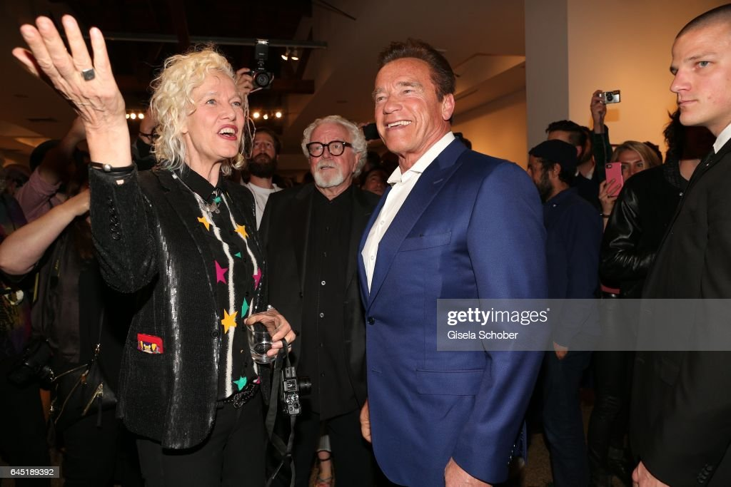Photographer Ellen von Unwerth and Arnold Schwarzenegger during the opening night of Ellen von Unwerth's photo exhibition at TASCHEN Gallery on February 24, 2017 in Los Angeles, California.