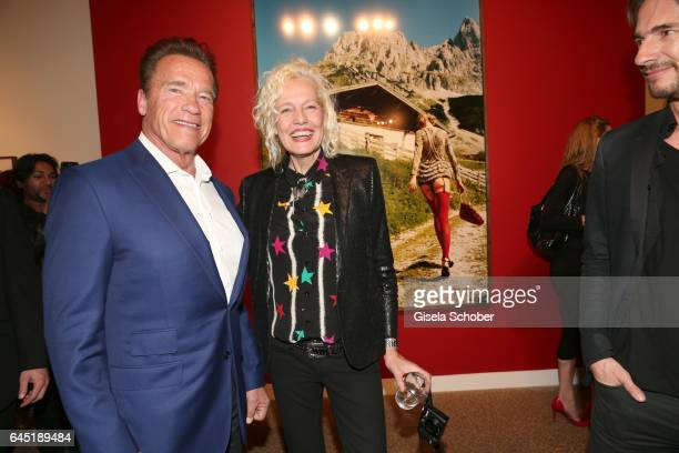 Photographer Ellen von Unwerth and Arnold Schwarzenegger during the opening night of Ellen von Unwerth's photo exhibition at TASCHEN Gallery on...