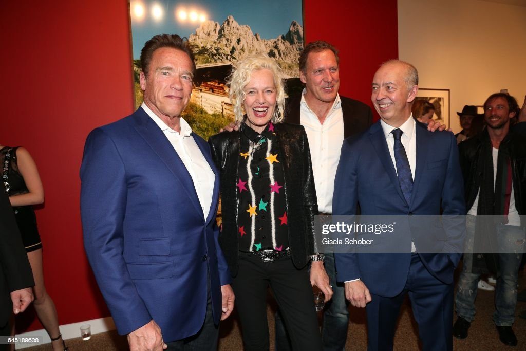 Photographer Ellen von Unwerth and Arnold Schwarzenegger (L), Ralf Moeller and Benedikt Taschen during the opening night of Ellen von Unwerth's photo exhibition at TASCHEN Gallery on February 24, 2017 in Los Angeles, California.