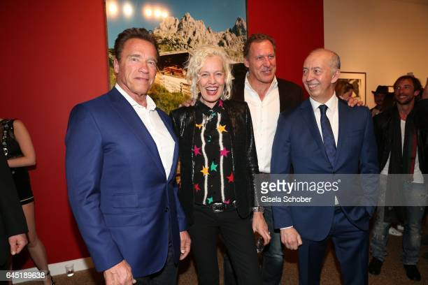 Photographer Ellen von Unwerth and Arnold Schwarzenegger Ralf Moeller and Benedikt Taschen during the opening night of Ellen von Unwerth's photo...