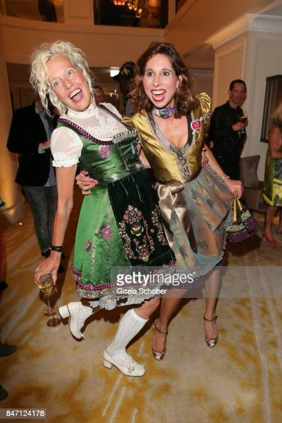 Photographer Ellen von Unwerth wearing a dirndl by dirndl fashion designer Lola Paltinger during the 'Ellen von Unwerth HEIMAT' Exhibition Opening...