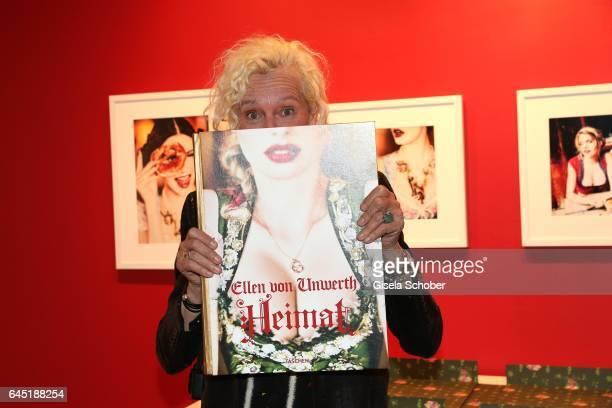 Photographer Ellen von Unwerth with her book during the opening night of Ellen von Unwerth's photo exhibition at TASCHEN Gallery on February 24 2017...