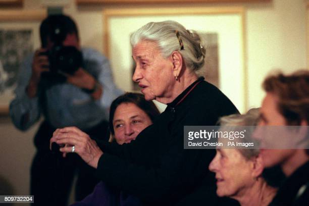 Photographer Eve Arnold at the opening of the first exhibition to bring together the work of the women photographers of the Magnum agency The...