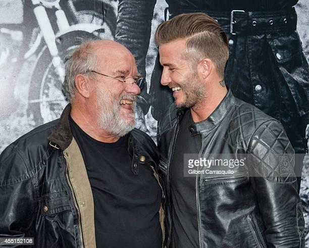 Photographer/ filmmaker Peter Lindbergh and David Beckham are seen outside the Belstaff Houseat Belstaff House on September 9 2014 in New York City