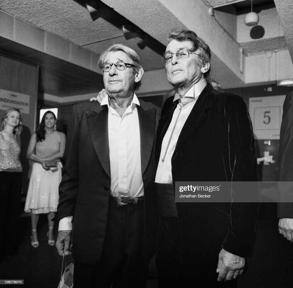 Photographer Helmut Newton and director Robert Evans are photographed for Vanity Fair Magazine on May 18, 2002 at the Palais des Festivals in Cannes, France. PUBLISHED