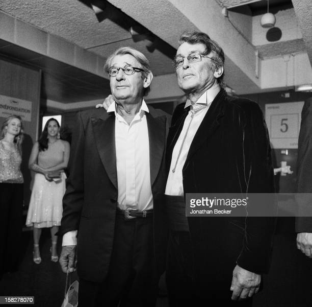 Photographer Helmut Newton and director Robert Evans are photographed for Vanity Fair Magazine on May 18 2002 at the Palais des Festivals in Cannes...