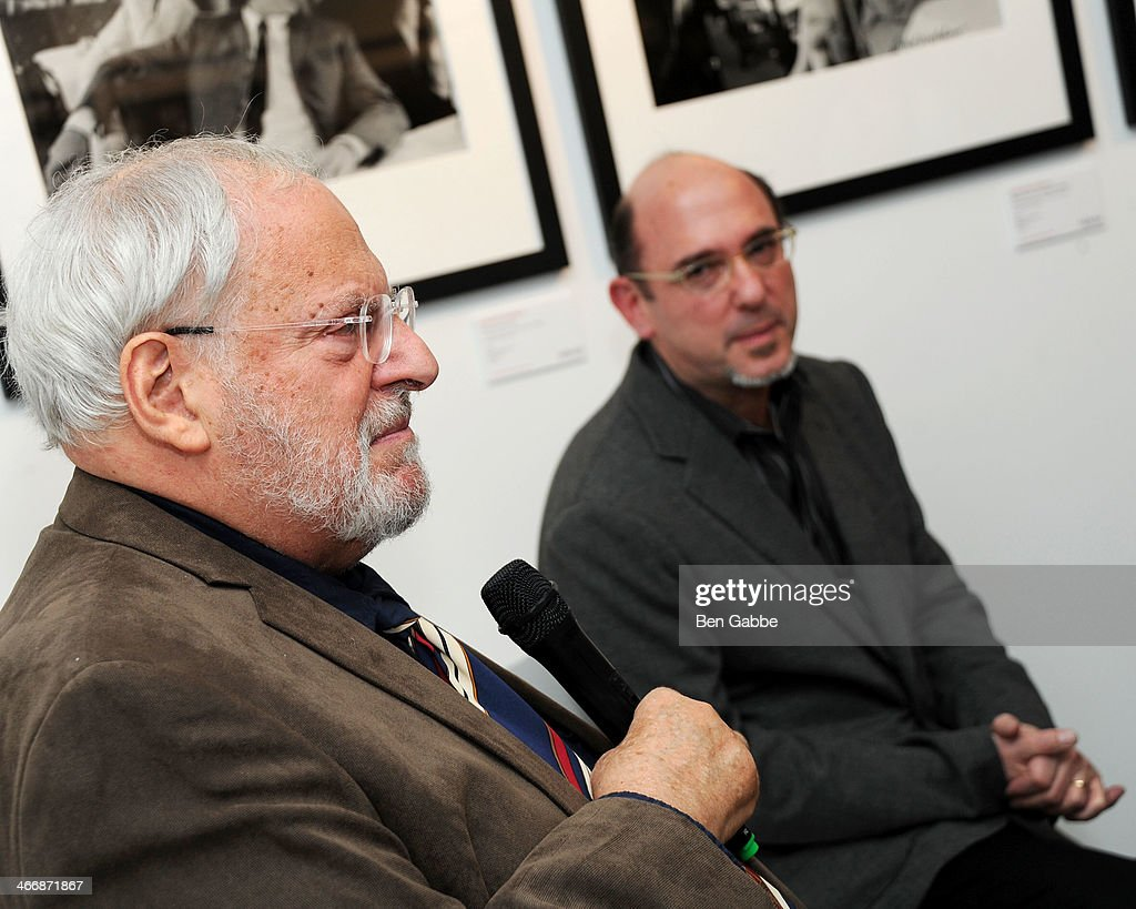 Photographer Henry Grossman (L) and CMO of Rock Paper Photo Ed Baum attend The Beatles 50 Year Commemorative Anniversary photo exhibit at Rock Paper Photo NYC Pop Up Gallery on February 4, 2014 in New York City.